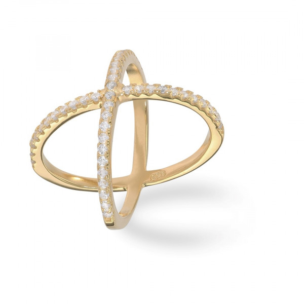 Cross Ring Zirkonia Gold