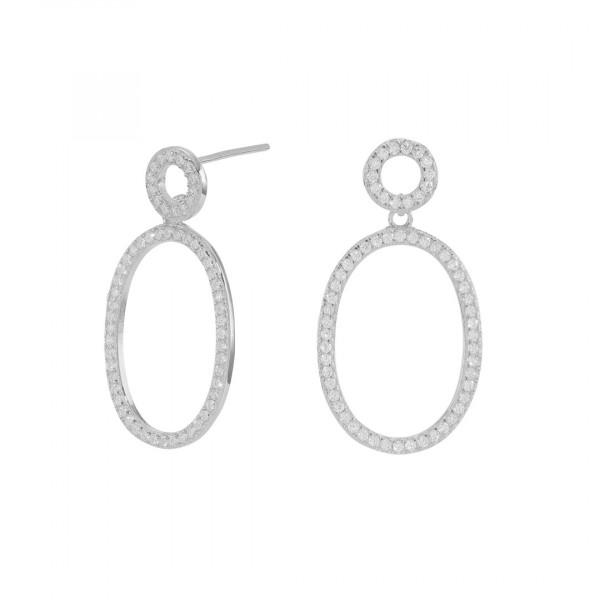Oval Zirkonia Ear Studs Silver