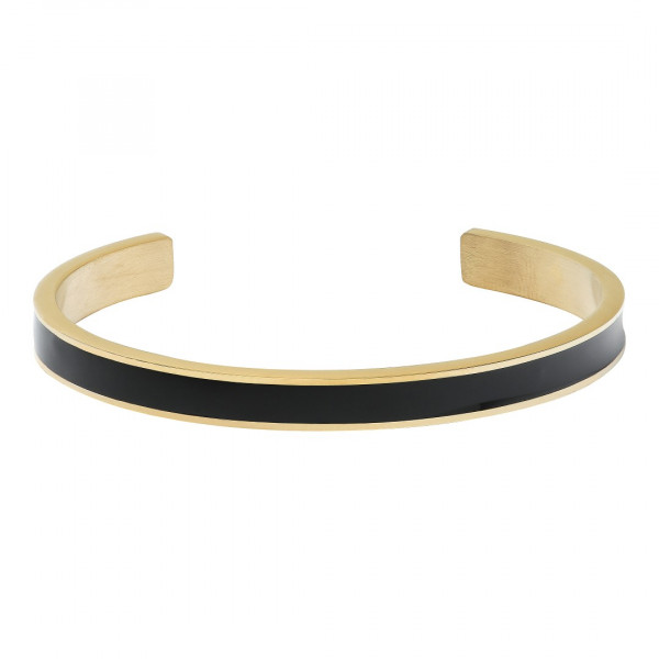 Black Enamel Bangle Gold