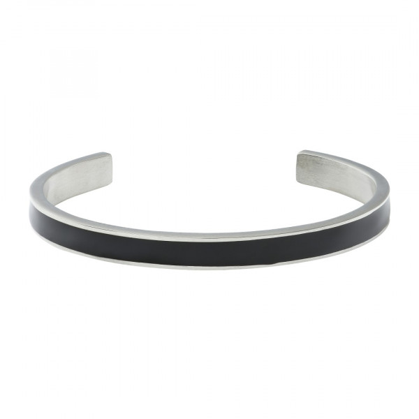 Black Enamel Bangle Steel