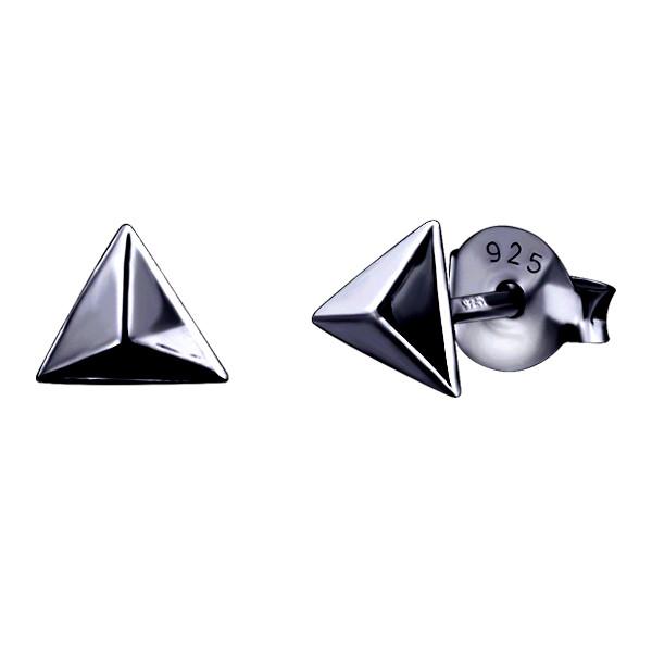 Plain Pyramide Ear Studs Black