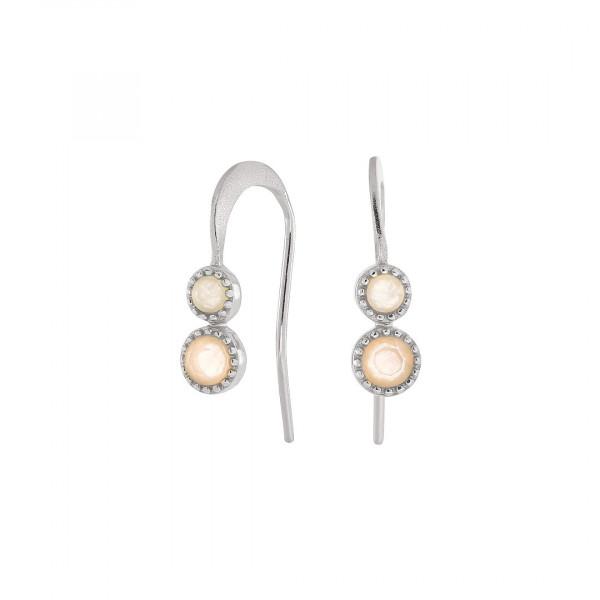 Two Stone Earring Silver