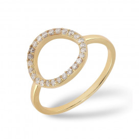Cirkel Ring Zirkonia Gold