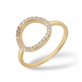 Cirkel Ring Zirkonia Gold