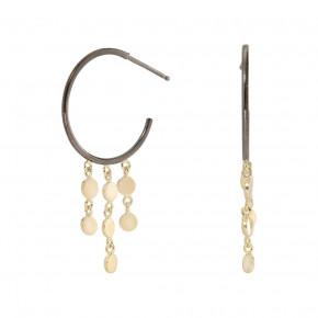 Coin Ear Hoop Black/Gold