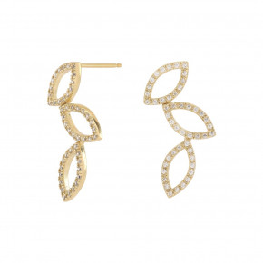 Zirkonia Leaf Ear Studs gold