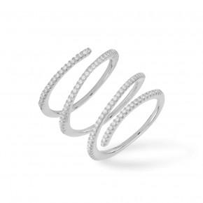 Triple Ring Zirkonia Silver