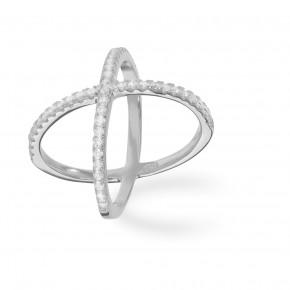 Cross Ring Zirkonia Silver