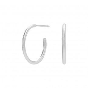 medium ear hoop silver