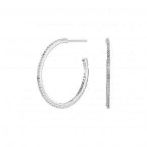 large zirkonia ear hoop silver