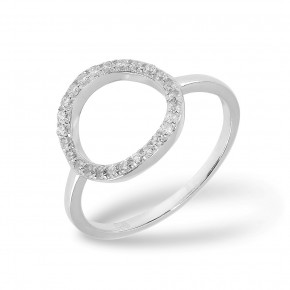 Cirkel Ring Zirkonia Silver