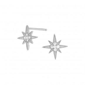 Sparkling Star Ear Studs Silver