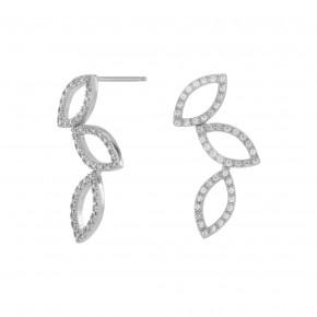 Zirkonia Leaf Ear Studs Silver