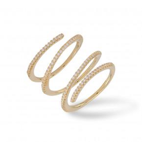 Triple Ring Zirkonia Gold