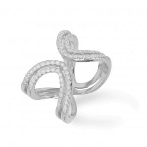 Double Ring Zirkonia Silver