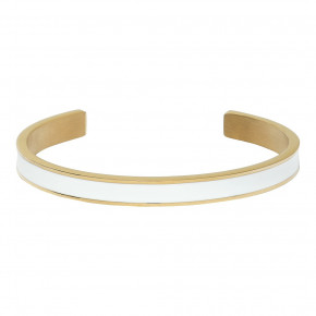 White Enamel Bangle Golden