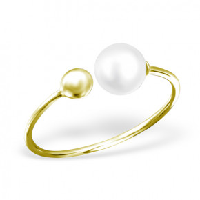 Double Pearl Ring Gold