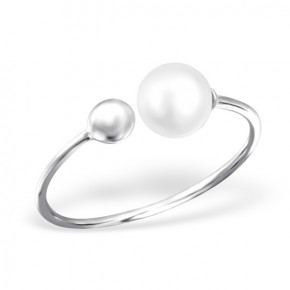 Double Pearl Ring Silver
