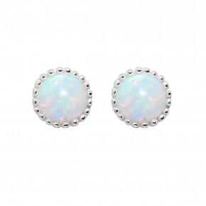 Opal Ear Studs Silver
