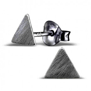 Brushed Triangle Ear Studs Black