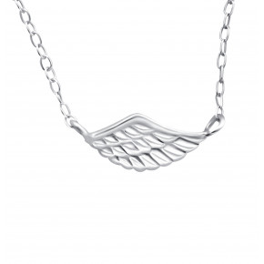 Plain Wing Necklace Silver